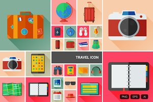 24 Flat Travel Vector Icon
