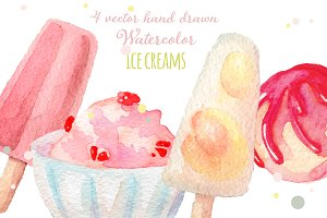 Watercolor ice creams set vector