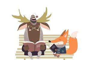 Cute fox and funny elk reading books
