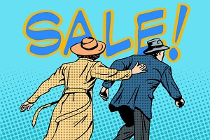 family running sale retro style