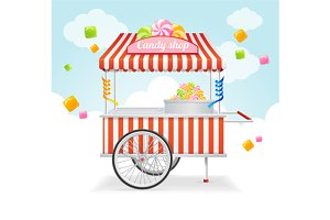 Candy Cart Market Card. Vector