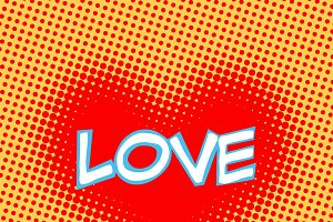 Love red heart inscription retro