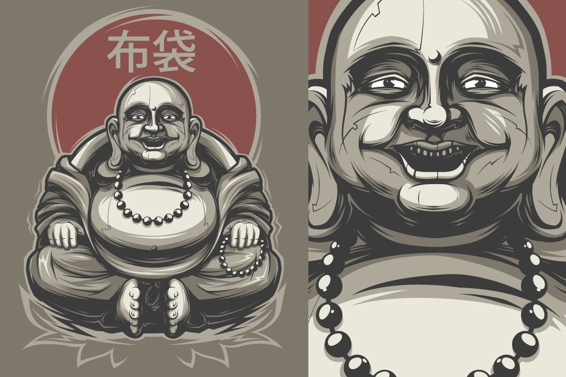 buddha illustration laughing buddha illustrations creative market 4072