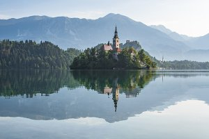 Amazing scenery at lake Bled