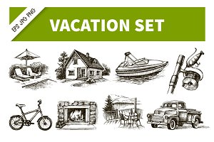 Hand Drawn Sketch Vacation Set