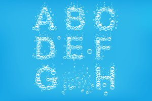 Alphabet of soap bubbles vector