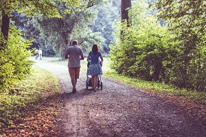 Couple walking in an autumn light