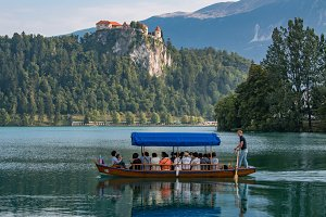 People sailing at Lake Bled