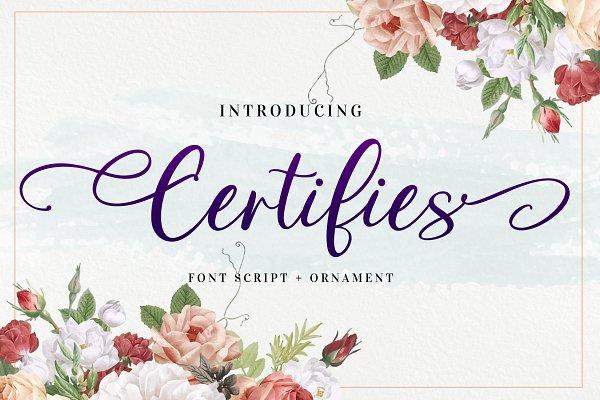 Certifies Font Script