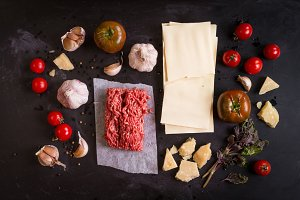 Ingredients for italian lasagna