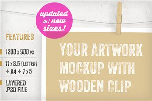 Artwork Mockups with Wooden Clip