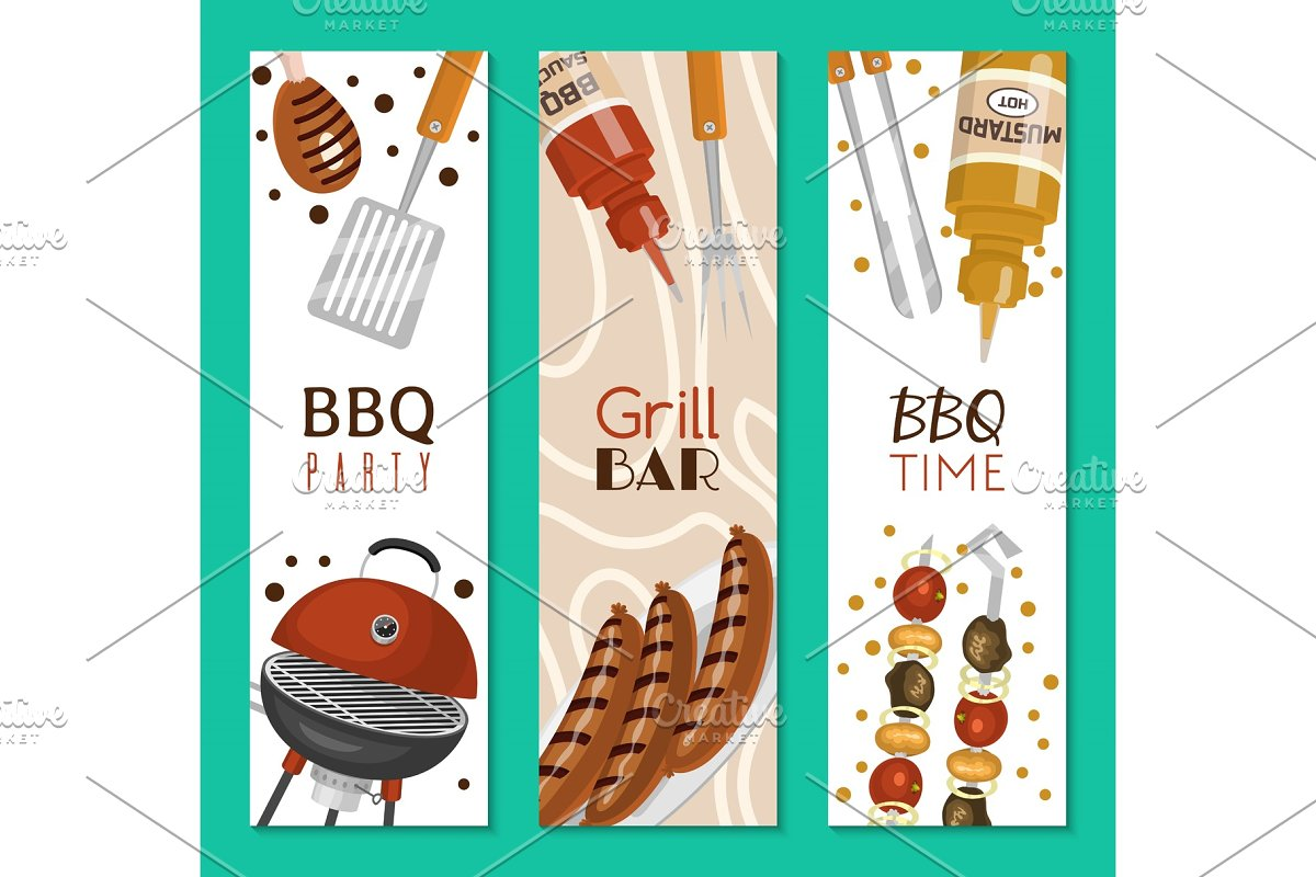 Barbeque picnic party banner meat