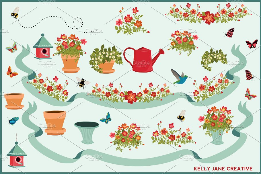 Potted Plants, Butterflies & Bees