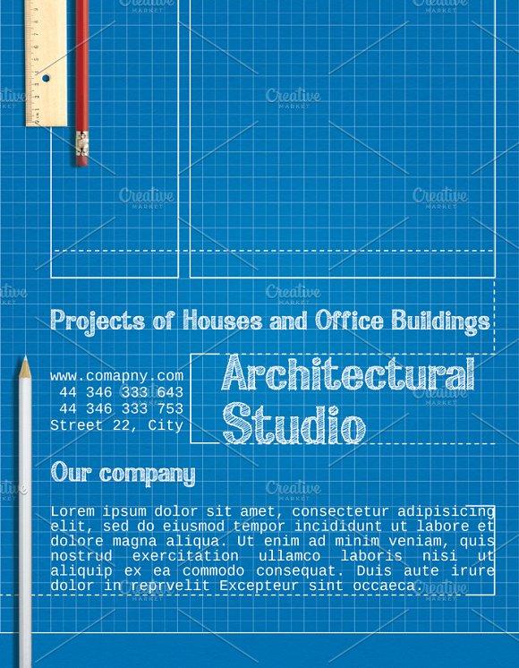 Blueprint architect flyer flyer templates creative market malvernweather Image collections