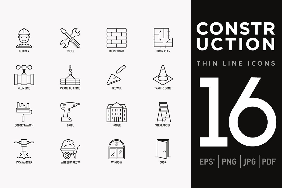 Construction   16 Thin Line Icons