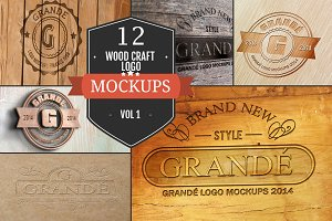 12 Wood Craft Logo Mockups Vol. 1