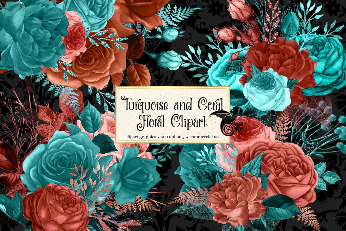 8df27173b4845 Turquoise and Coral Floral Clipart ~ Illustrations ~ Creative Market