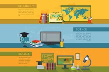 Geography, biology, science banners