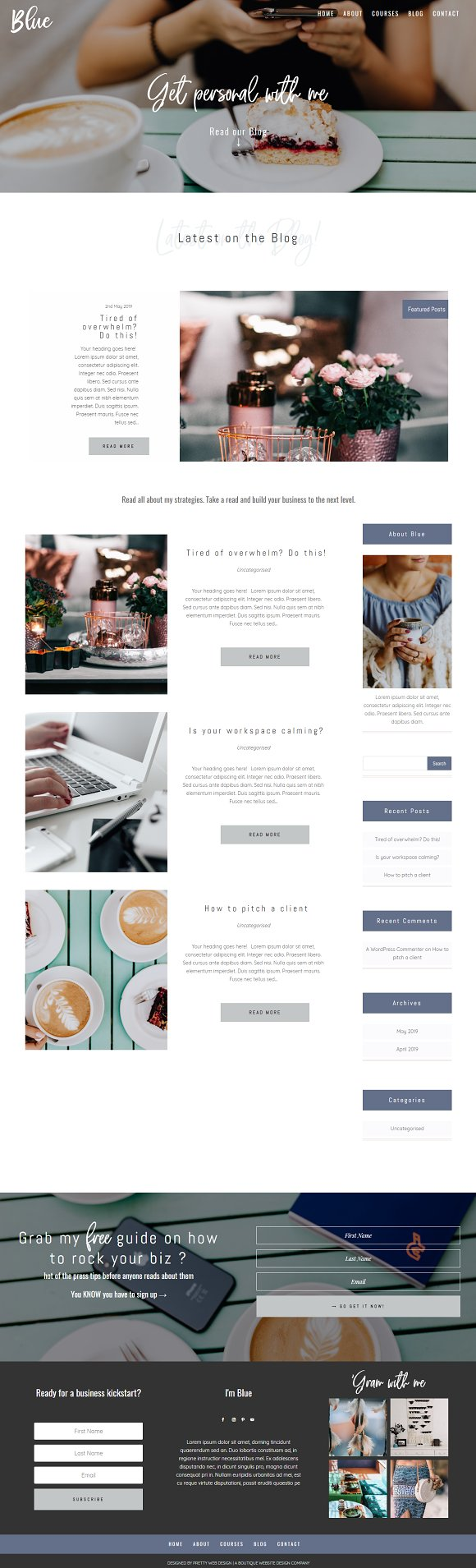 Blue Divi Child theme for business in WordPress Business Themes - product preview 3