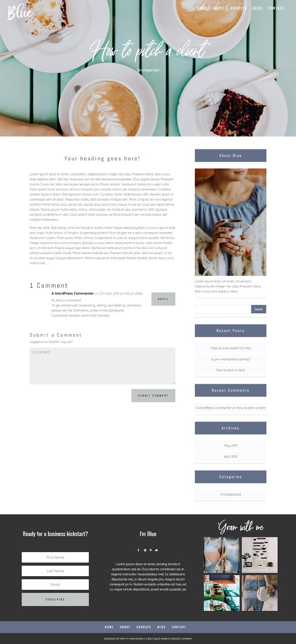 Blue Divi Child theme for business in WordPress Business Themes - product preview 5