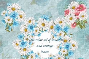 Set of watercolor bouquets and frame