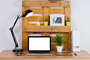 DIY workspace make with pallet
