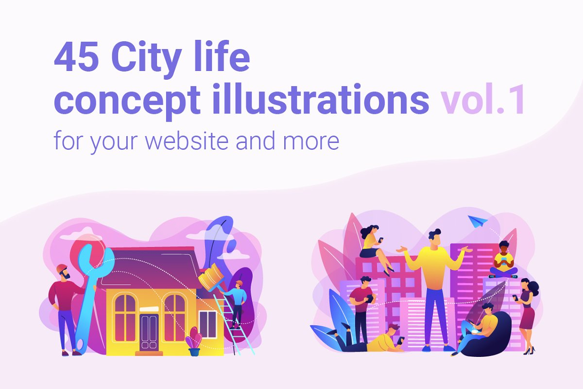 City life concept illustrations