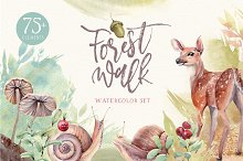 FOREST WALK Watercolor set by  in Illustrations