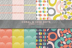 Coral & Jade Mod Dot Patterns