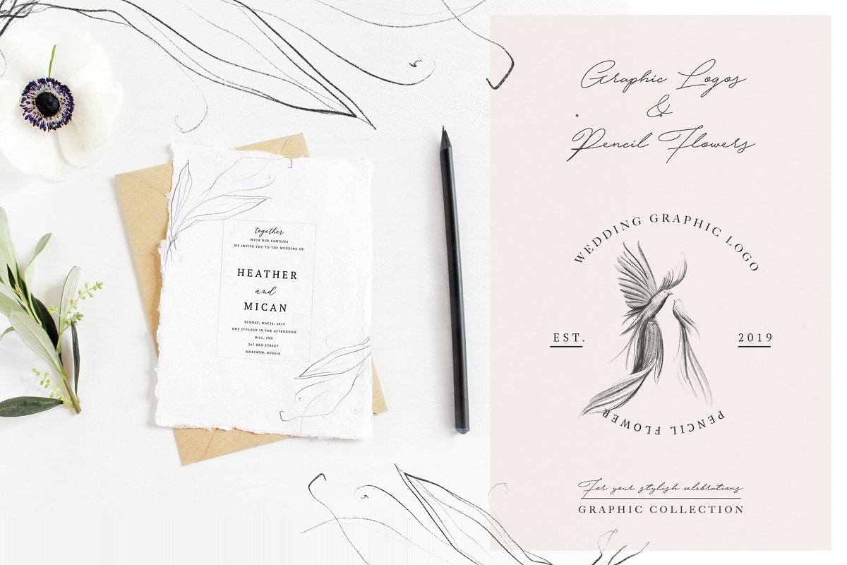 Wedding Graphic Logo & Pencil Flower