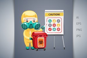 Caution Biohazard Poster with Doctor