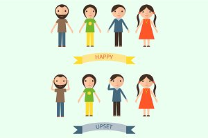 Characters with happy and upset