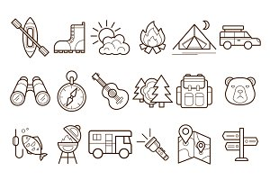 Camping and Outdoor line Icons