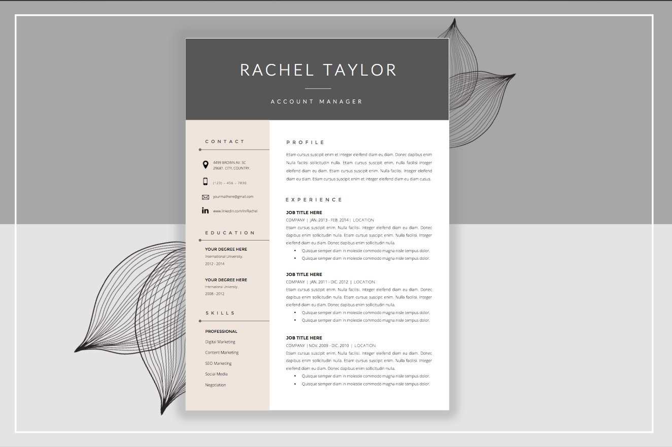resume templates creative market resume template cover letter