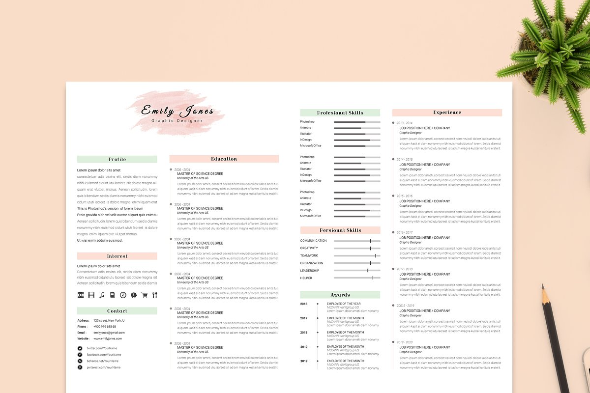 2 Page Resume & CoverLetter Template