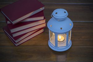 lantern and books