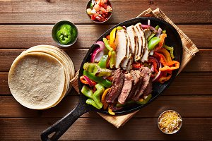 beef and chicken fajitas overhead