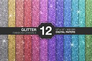 12 GLITTER PAPERS