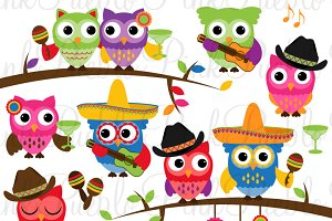 Cinco de Mayo Owls Clipart & Vectors