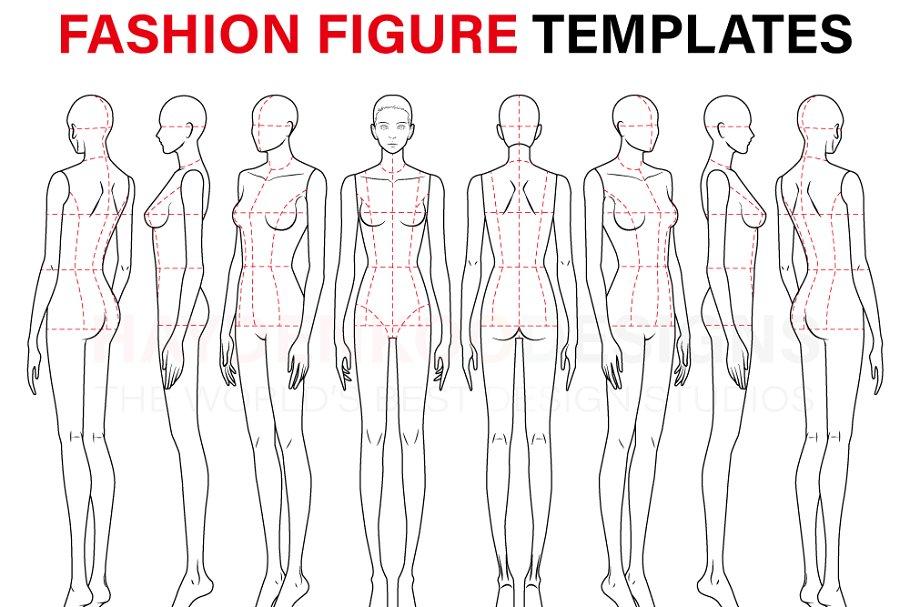Fashion Template (9 Head) | Custom-Designed Illustrations ...