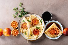 Homemade pancakes with blood oranges by  in Food & Drink
