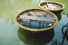 Traditional Basket Boat in Vietnam by  in Transportation