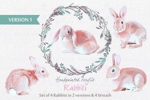 Acrylic Painted Rabbits & Wreath Set