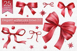 Elegant watercolor bows set 2.0
