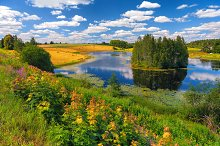 Rural landscape with a lake in summe by  in Nature