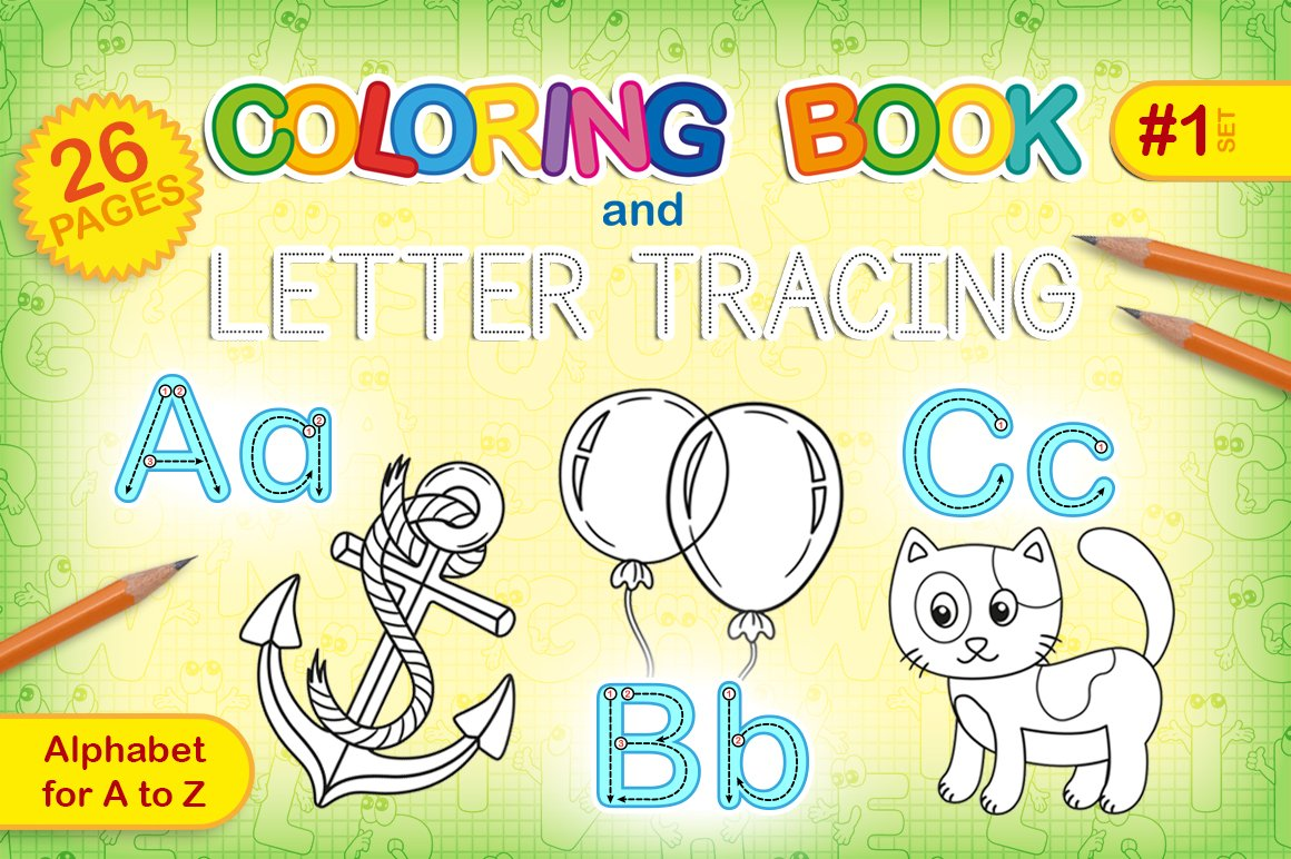 ABC coloring book and letter tracing