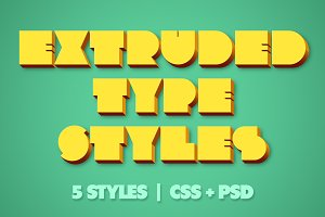 Extruded CSS Type Styles (+PSD)