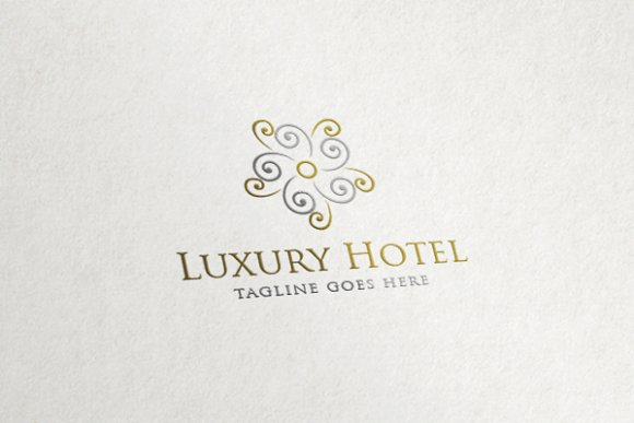Luxury hotel flower abstract logo logo templates on for Hotel logo design samples