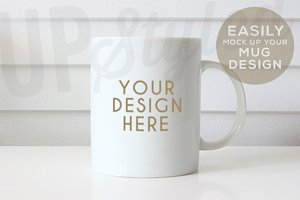 Plain White Mug Mock Up F179