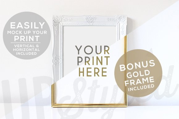 Free White and Gold Photo Frame F176